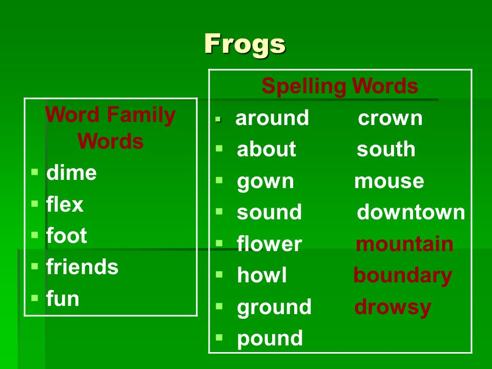 Frogs Word Family Words  dime  flex  foot  friends  fun Spelling Words   around crown  about south  gown mouse  sound downtown  flower mountain  howl boundary  ground drowsy  pound