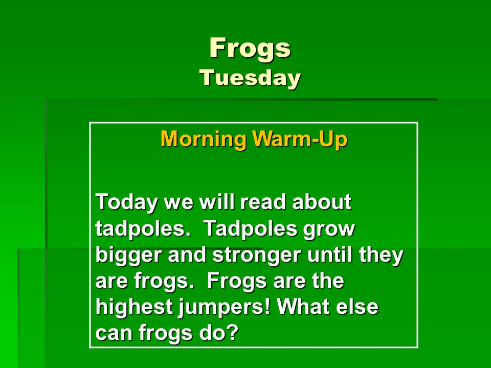 Frogs Tuesday Morning Warm-Up Today we will read about tadpoles. Tadpoles grow bigger and stronger until they are frogs. Frogs are the highest jumpers