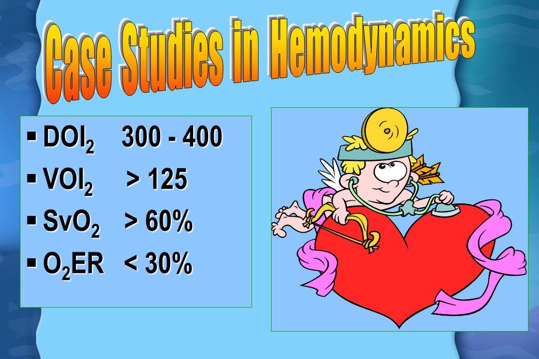  DOI 2 300 - 400  VOI 2 > 125  SvO 2 > 60%  O 2 ER < 30%