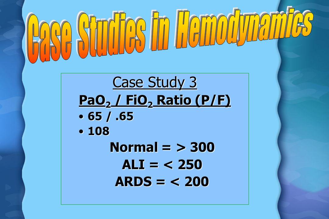 Case Study 3 PaO 2 / FiO 2 Ratio (P/F) 65 /.6565 /.65 108108 Normal = > 300 ALI = < 250 ARDS = < 200