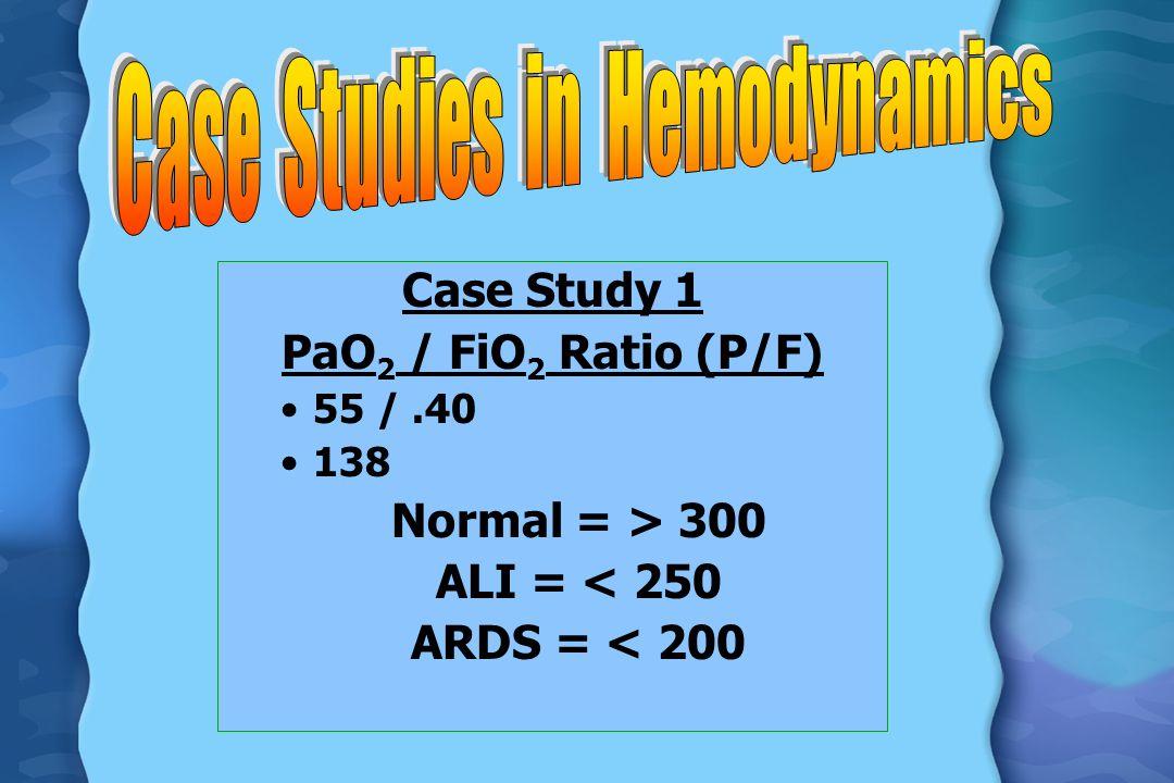 Case Study 1 PaO 2 / FiO 2 Ratio (P/F) 55 /.40 138 Normal = > 300 ALI = < 250 ARDS = < 200