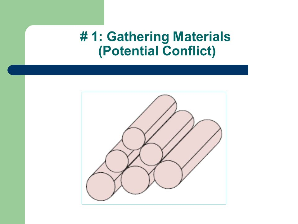 # 1: Gathering Materials (Potential Conflict)