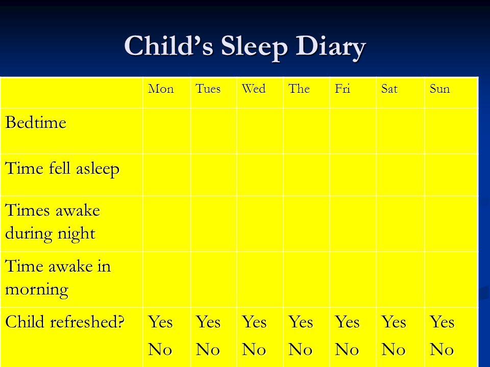 Child's Sleep Diary MonTuesWedTheFriSatSun Bedtime Time fell asleep Times awake during night Time awake in morning Child refreshed.