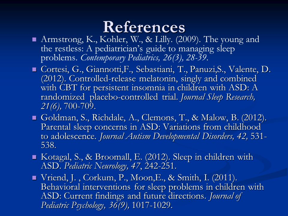 References Armstrong, K., Kohler, W., & Lilly. (2009).