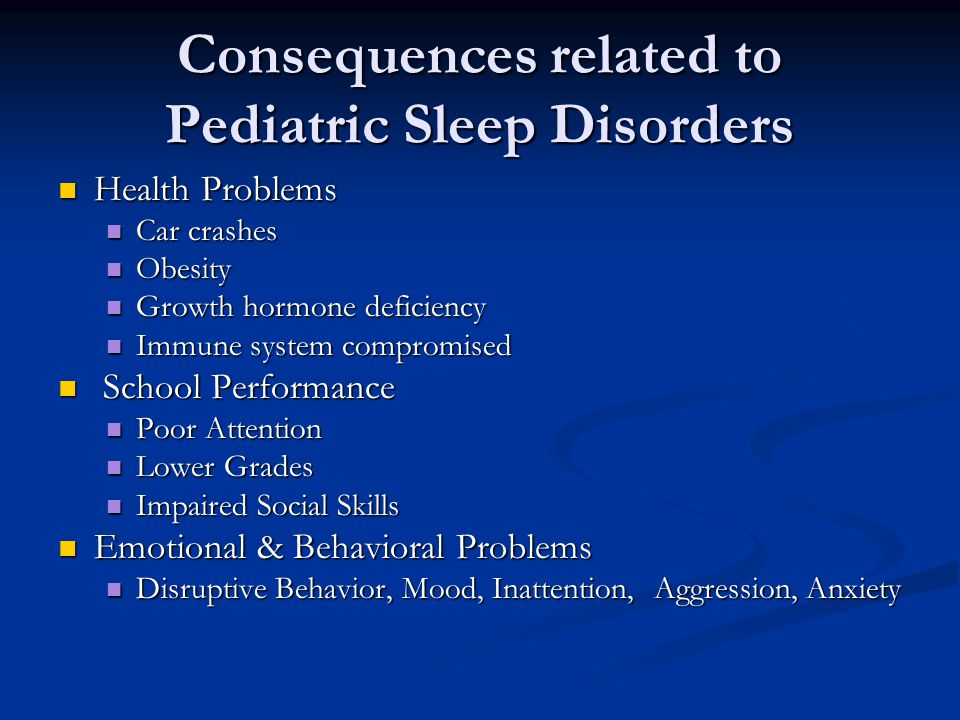 Consequences related to Pediatric Sleep Disorders Health Problems Health Problems Car crashes Car crashes Obesity Obesity Growth hormone deficiency Growth hormone deficiency Immune system compromised Immune system compromised School Performance School Performance Poor Attention Poor Attention Lower Grades Lower Grades Impaired Social Skills Impaired Social Skills Emotional & Behavioral Problems Emotional & Behavioral Problems Disruptive Behavior, Mood, Inattention, Aggression, Anxiety Disruptive Behavior, Mood, Inattention, Aggression, Anxiety