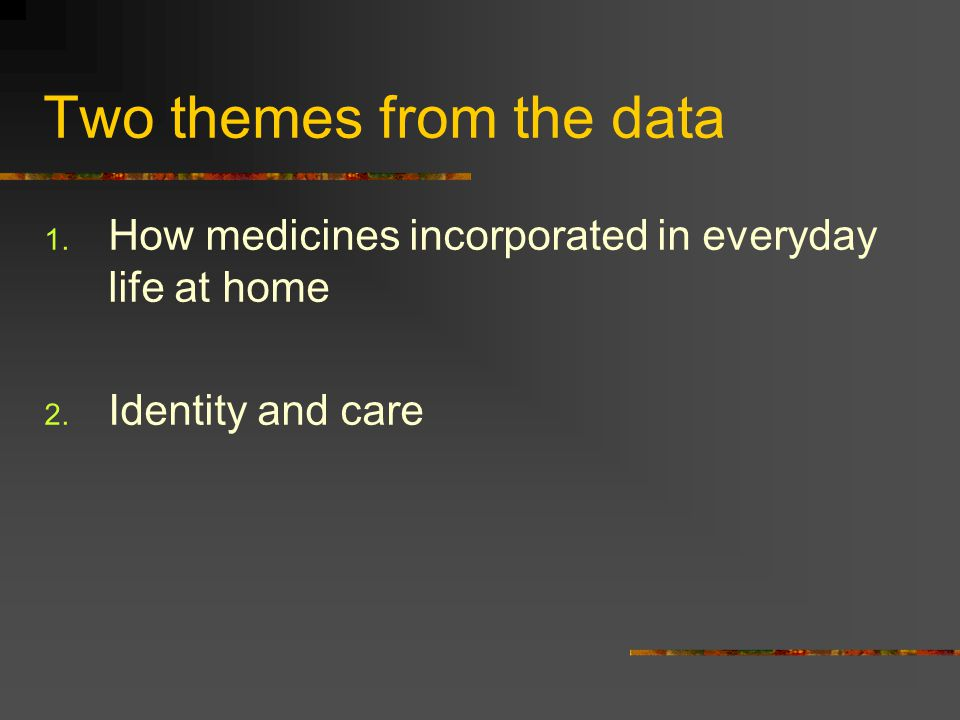 Two themes from the data 1. How medicines incorporated in everyday life at home 2. Identity and care