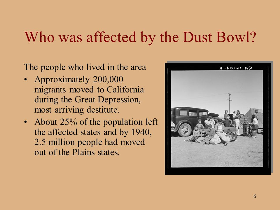 people affected by the dust bowl essay The dust bowl was the name given to the drought-stricken southern plains region of the united states, which suffered severe dust storms during a dry period in the 1930s as high winds and choking dust swept the region from texas to nebraska, people and livestock were killed and crops failed across.