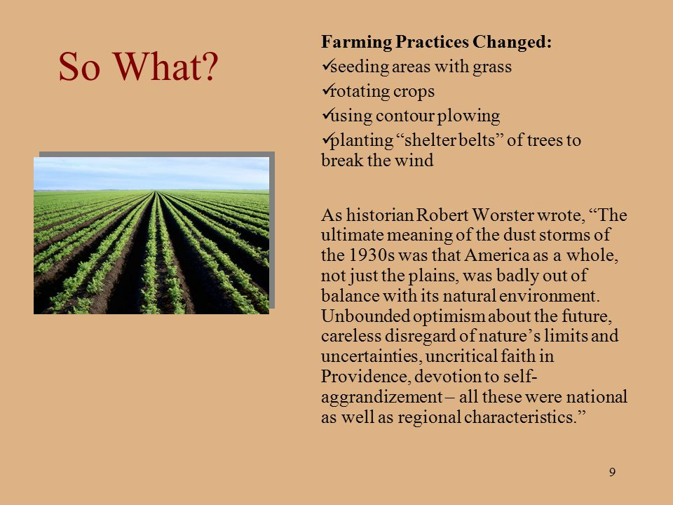 """9 So What? Farming Practices Changed: seeding areas with grass rotating crops using contour plowing planting """"shelter belts"""" of trees to break the win"""