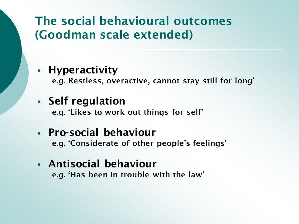The social behavioural outcomes (Goodman scale extended) Hyperactivity e.g.