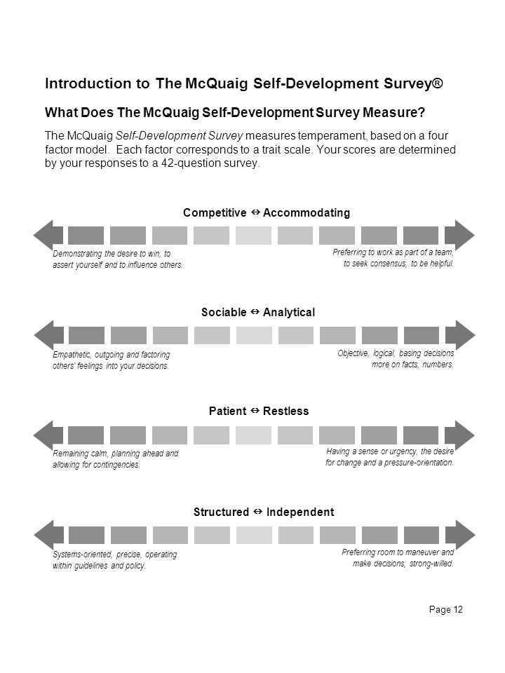 Page 12 What Does The McQuaig Self-Development Survey Measure? The McQuaig Self-Development Survey measures temperament, based on a four factor model.