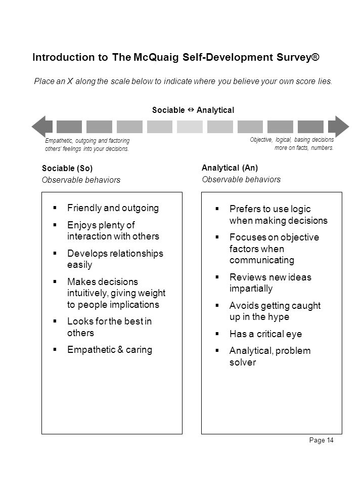 Page 14 Introduction to The McQuaig Self-Development Survey® Sociable Analytical Empathetic, outgoing and factoring others' feelings into your decisio