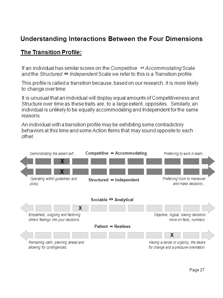 Page 27 Understanding Interactions Between the Four Dimensions The Transition Profile: If an individual has similar scores on the Competitive Accommod