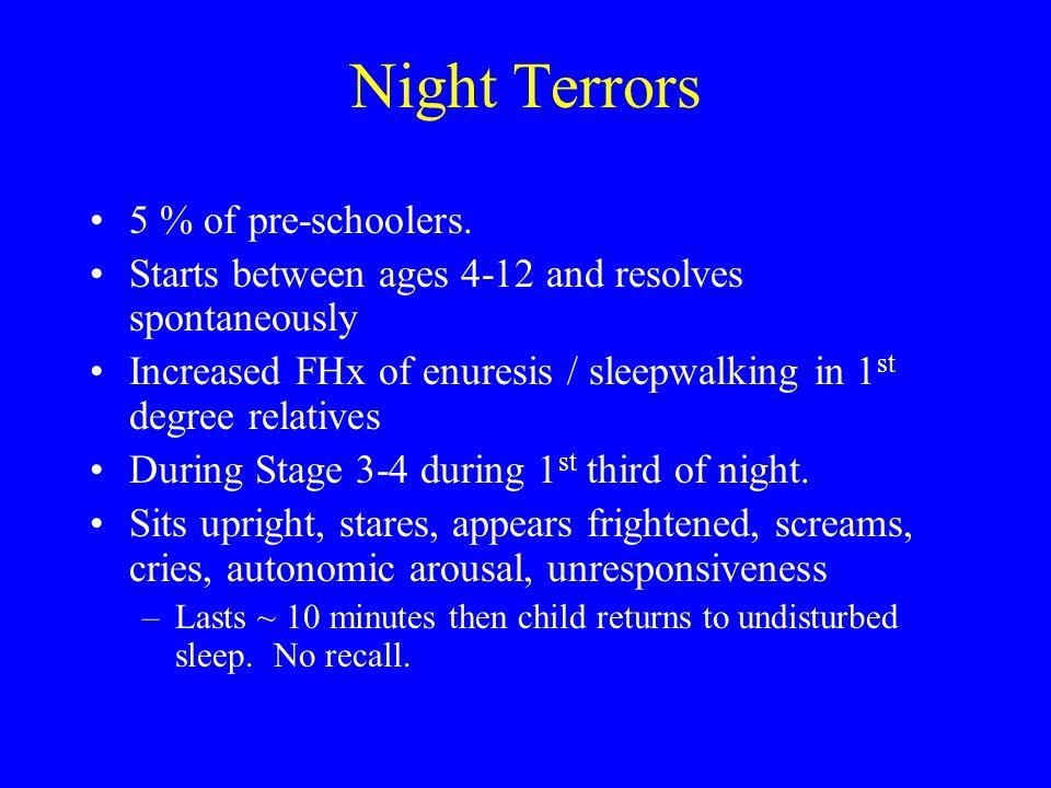 Night Terrors 5 % of pre-schoolers. Starts between ages 4-12 and resolves spontaneously Increased FHx of enuresis / sleepwalking in 1 st degree relati