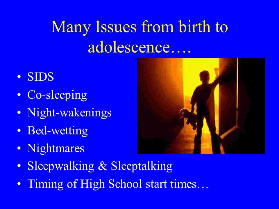 Many Issues from birth to adolescence…. SIDS Co-sleeping Night-wakenings Bed-wetting Nightmares Sleepwalking & Sleeptalking Timing of High School star