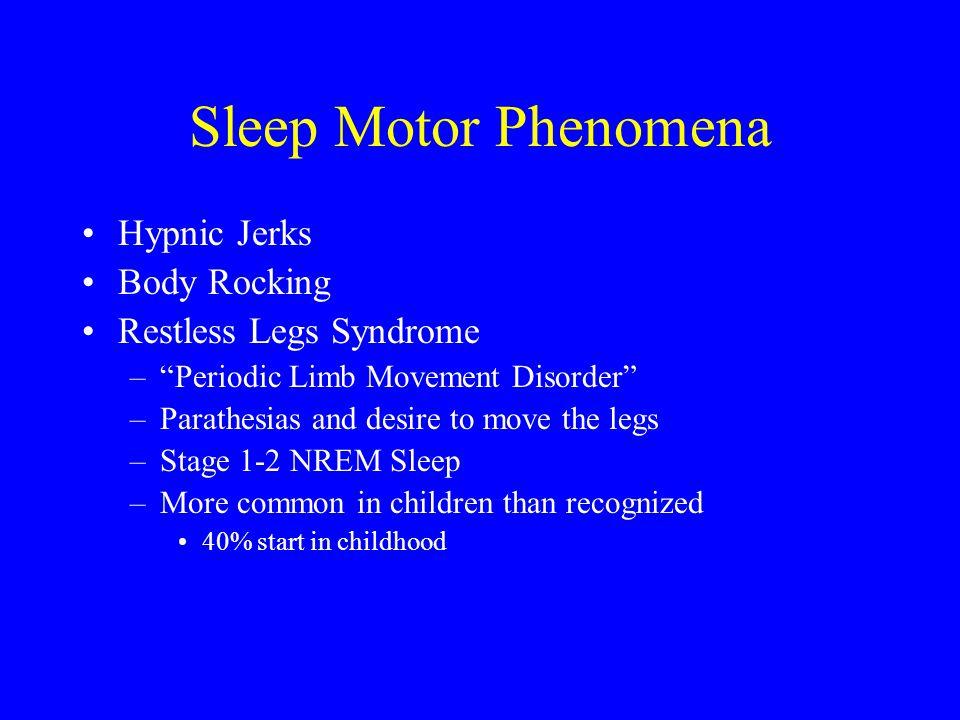 "Sleep Motor Phenomena Hypnic Jerks Body Rocking Restless Legs Syndrome –""Periodic Limb Movement Disorder"" –Parathesias and desire to move the legs –St"
