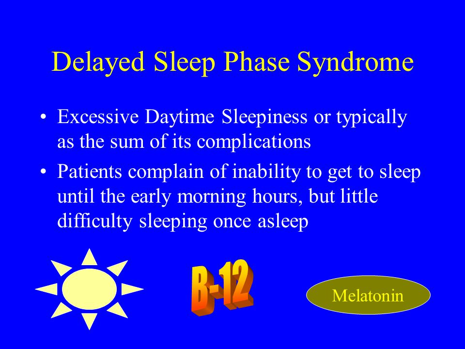 Delayed Sleep Phase Syndrome Excessive Daytime Sleepiness or typically as the sum of its complications Patients complain of inability to get to sleep