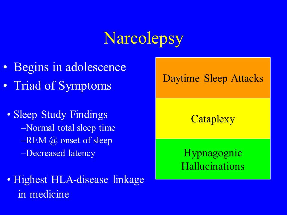 Narcolepsy Begins in adolescence Triad of Symptoms Daytime Sleep Attacks Cataplexy Hypnagognic Hallucinations Sleep Study Findings –Normal total sleep
