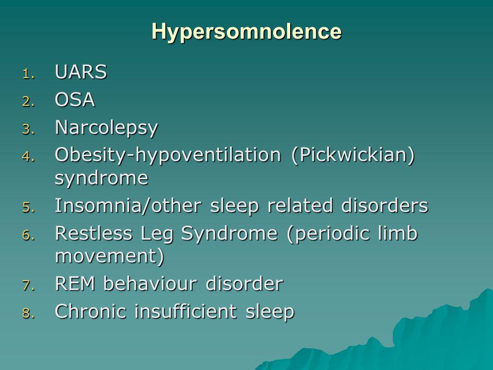 Hypersomnolence 1. UARS 2. OSA 3. Narcolepsy 4.