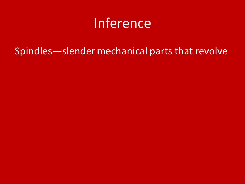 Inference Spindles—slender mechanical parts that revolve