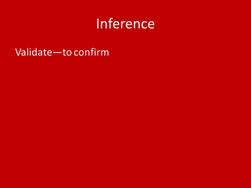 Inference Validate—to confirm