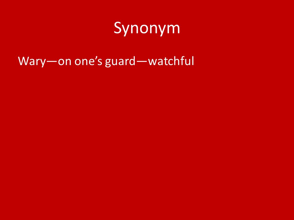 Synonym Wary—on one's guard—watchful
