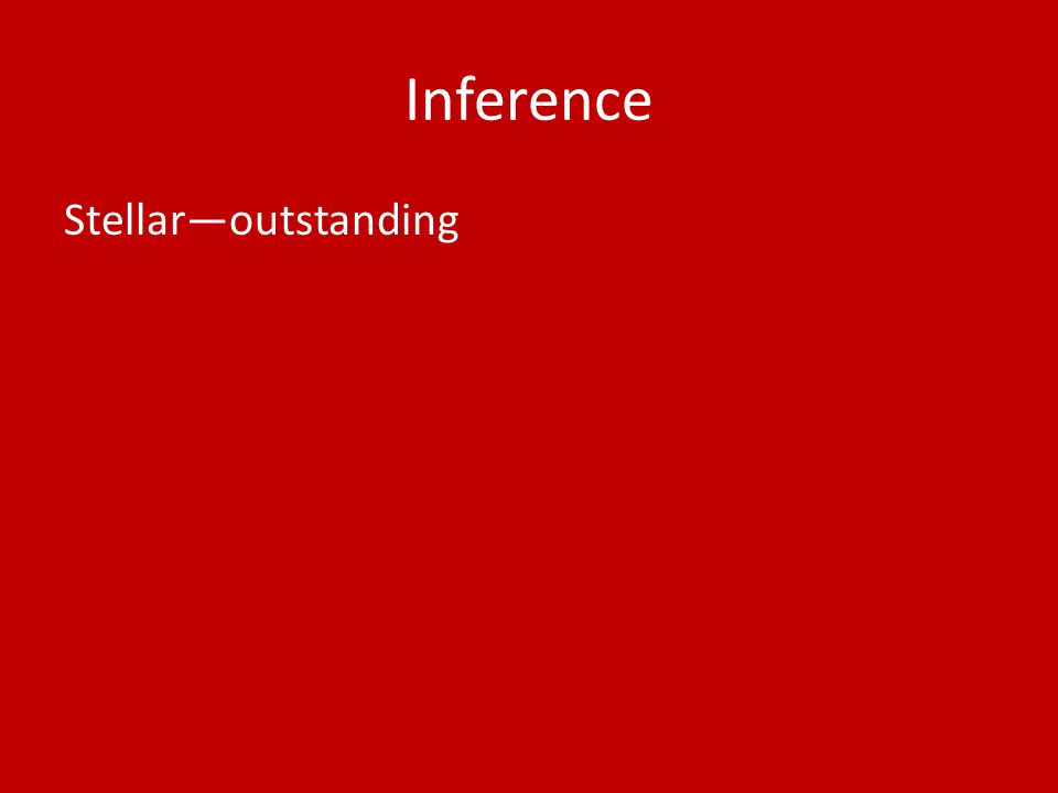 Inference Stellar—outstanding