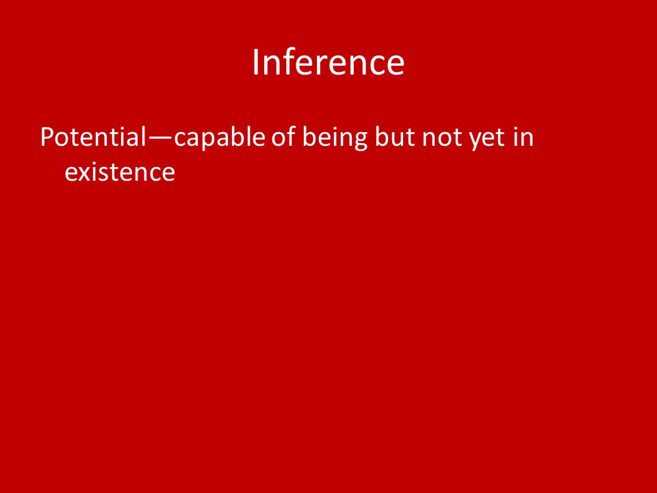 Inference Potential—capable of being but not yet in existence