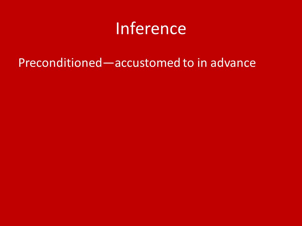 Inference Preconditioned—accustomed to in advance