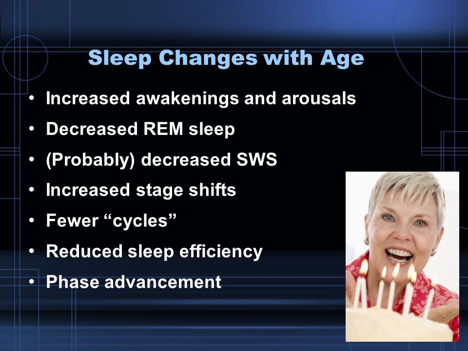 Sleep Changes with Age Increased awakenings and arousals Decreased REM sleep (Probably) decreased SWS Increased stage shifts Fewer cycles Reduced sleep efficiency Phase advancement