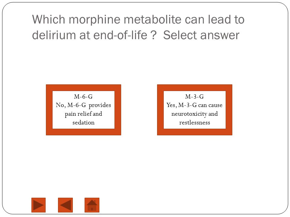 Which morphine metabolite can lead to delirium at end-of-life .