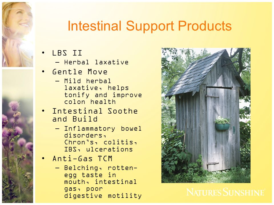 Intestinal Support Products LBS II –Herbal laxative Gentle Move –Mild herbal laxative, helps tonify and improve colon health Intestinal Soothe and Build –Inflammatory bowel disorders, Chron's, colitis, IBS, ulcerations Anti-Gas TCM –Belching, rotten- egg taste in mouth, intestinal gas, poor digestive motility
