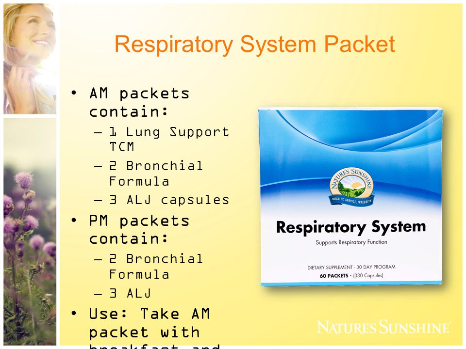 Respiratory System Packet AM packets contain: –1 Lung Support TCM –2 Bronchial Formula –3 ALJ capsules PM packets contain: –2 Bronchial Formula –3 ALJ Use: Take AM packet with breakfast and PM packet with evening meal