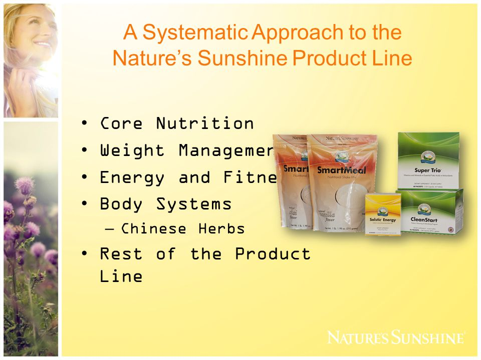 A Systematic Approach to the Nature's Sunshine Product Line Core Nutrition Weight Management Energy and Fitness Body Systems –Chinese Herbs Rest of the Product Line