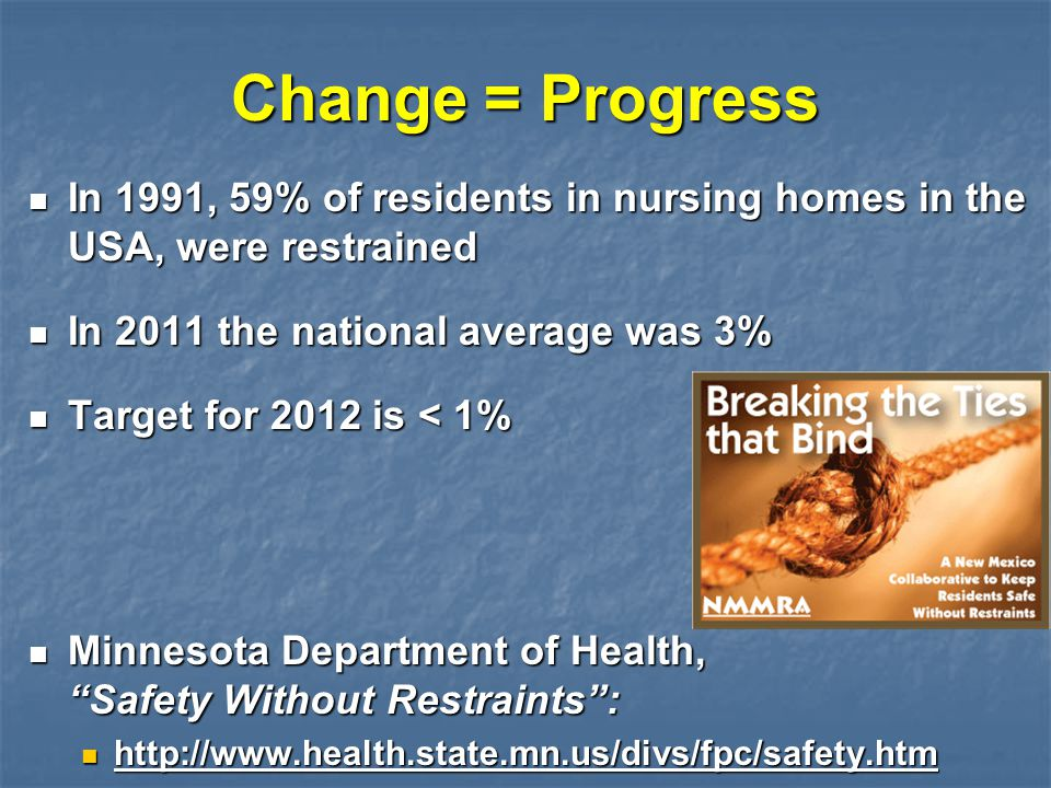 Change = Progress In 1991, 59% of residents in nursing homes in the USA, were restrained In 1991, 59% of residents in nursing homes in the USA, were r