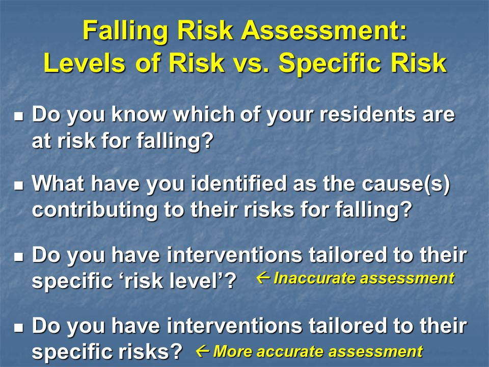 Falling Risk Assessment: Levels of Risk vs. Specific Risk Do you know which of your residents are at risk for falling? Do you know which of your resid