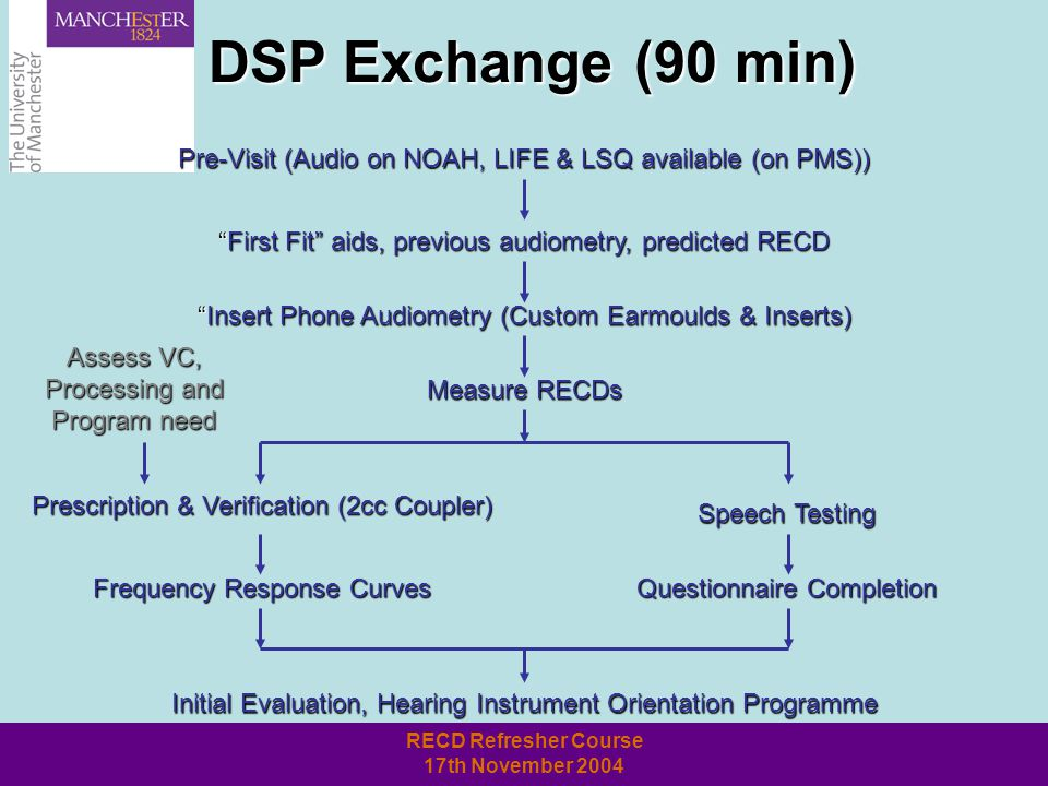 RECD Refresher Course 17th November 2004 DSP Exchange (90 min) Pre-Visit (Audio on NOAH, LIFE & LSQ available (on PMS)) First Fit aids, previous audiometry, predicted RECD Insert Phone Audiometry (Custom Earmoulds & Inserts) Measure RECDs Speech Testing Questionnaire Completion Prescription & Verification (2cc Coupler) Frequency Response Curves Initial Evaluation, Hearing Instrument Orientation Programme Assess VC, Processing and Program need