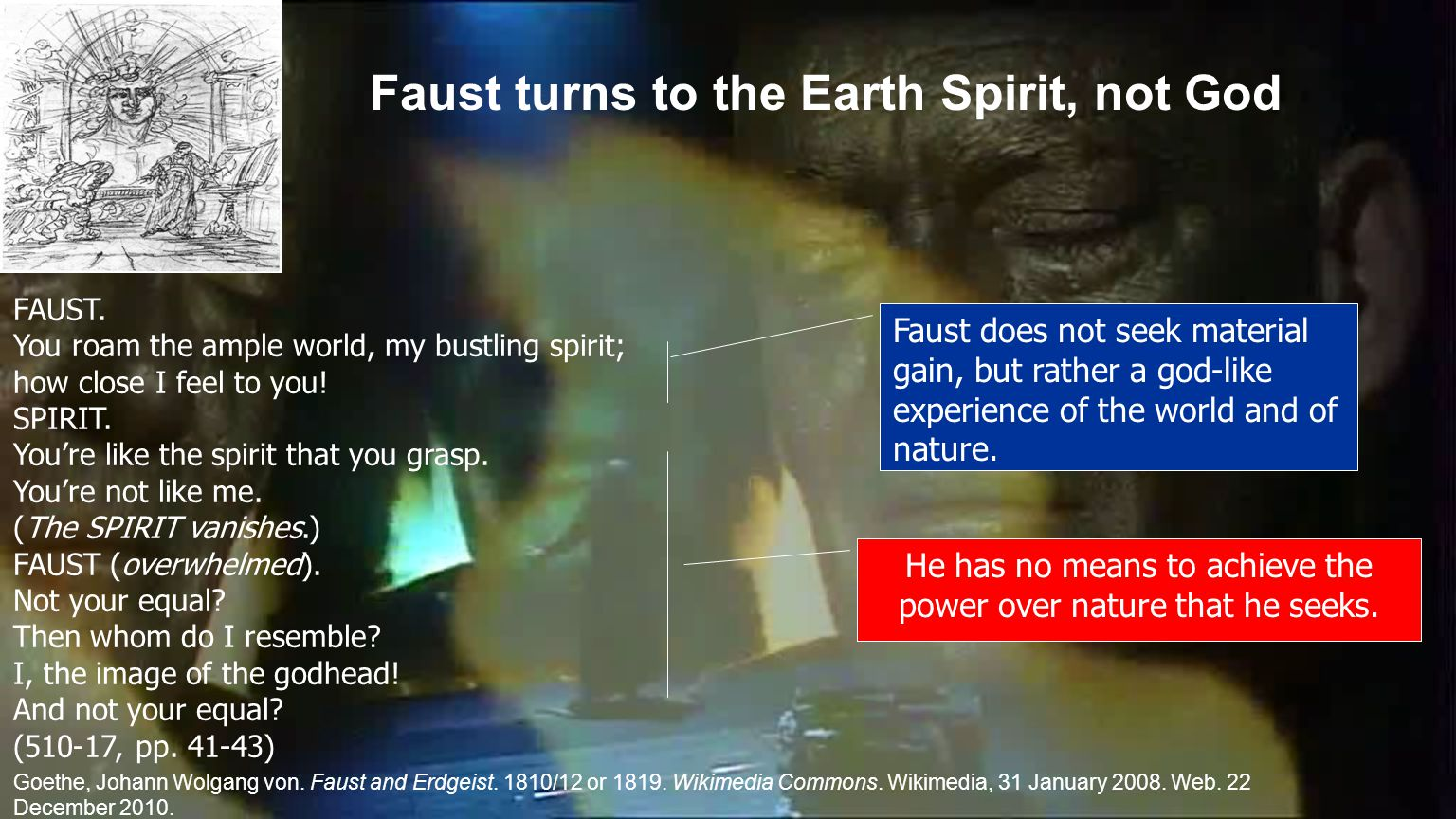 Faust turns to the Earth Spirit, not God FAUST.