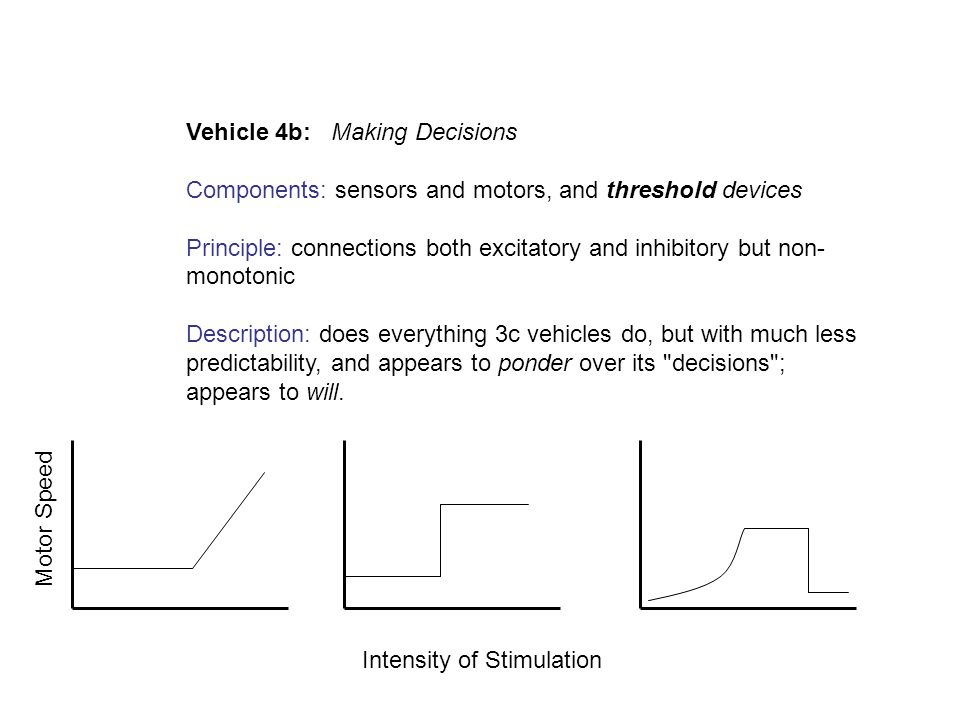 Vehicle 4b: Making Decisions Components: sensors and motors, and threshold devices Principle: connections both excitatory and inhibitory but non- mono