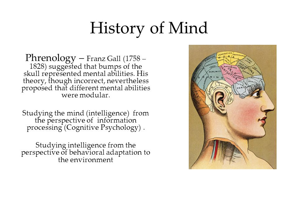 History of Mind Phrenology – Franz Gall (1758 – 1828) suggested that bumps of the skull represented mental abilities. His theory, though incorrect, ne