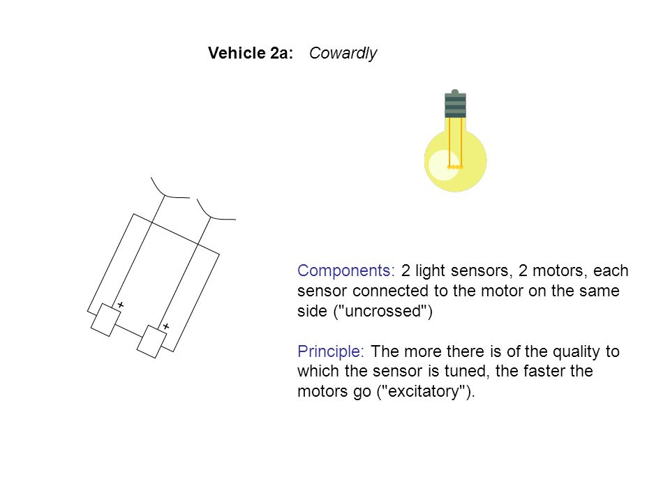 Components: 2 light sensors, 2 motors, each sensor connected to the motor on the same side ( uncrossed ) Principle: The more there is of the quality to which the sensor is tuned, the faster the motors go ( excitatory ).