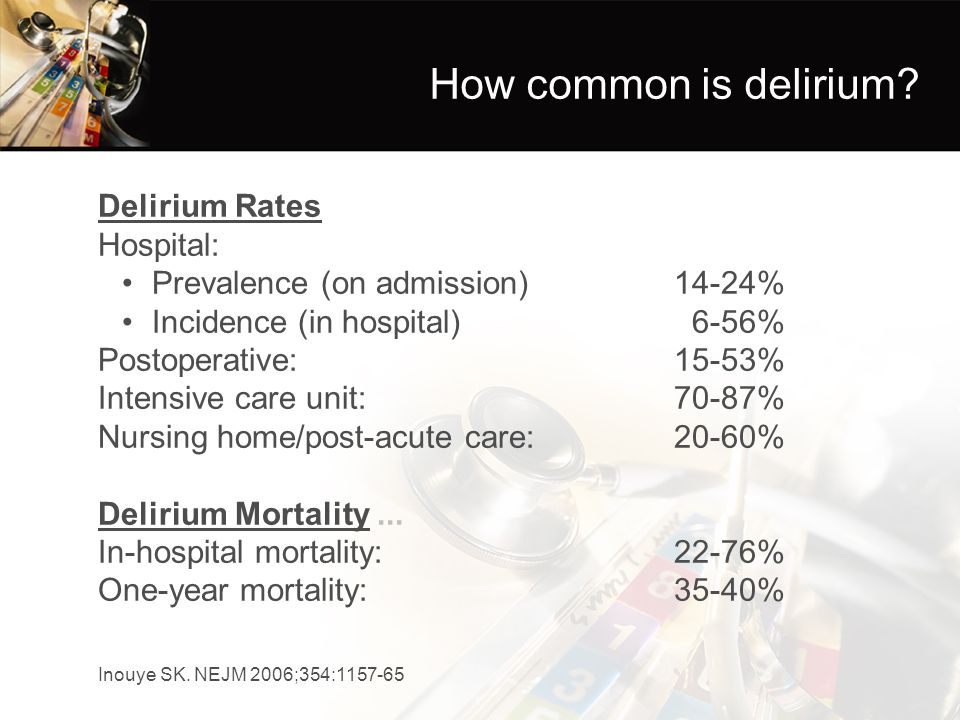 Recognition of Delirium 32-66% of patients with delirium are unrecognized by physicians 69% of patients with delirium are unrecognized by nurses Risk factors for under-recognition: hypoactive delirium; advanced age, vision impairment, dementia Inouye SK, Foreman MD, Mion LC, Katz KH, Cooney LM.