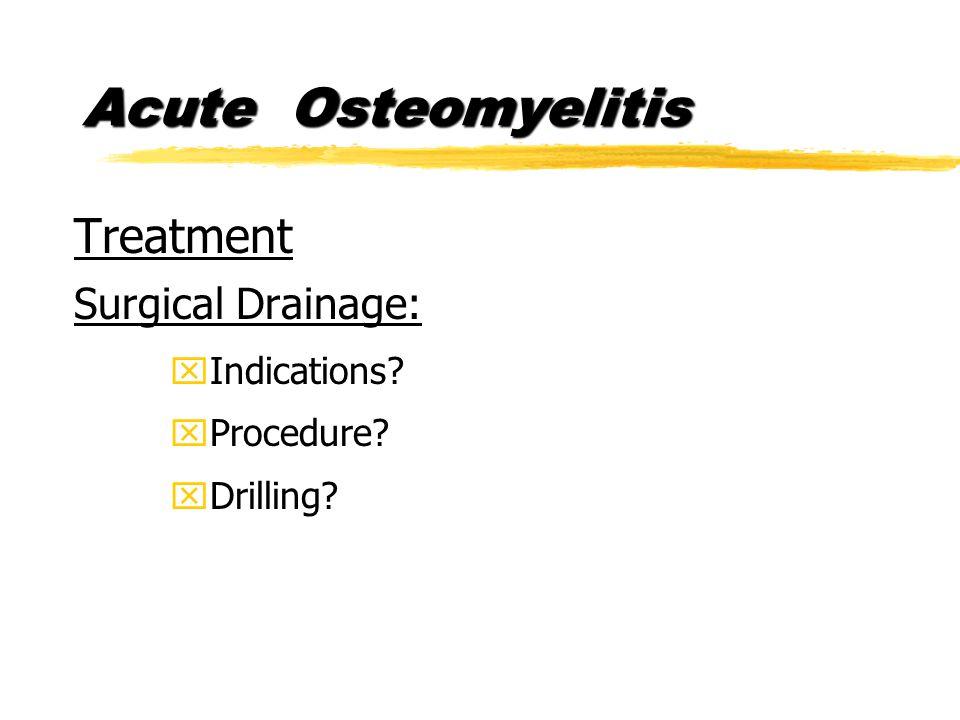 Acute Osteomyelitis Treatment Surgical Drainage: xIndications xProcedure xDrilling