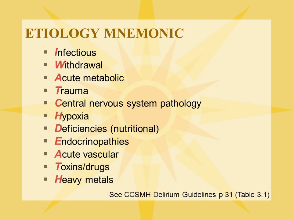 ETIOLOGY MNEMONIC  I nfectious  W ithdrawal  A cute metabolic  T rauma  C entral nervous system pathology  H ypoxia  D eficiencies (nutritional