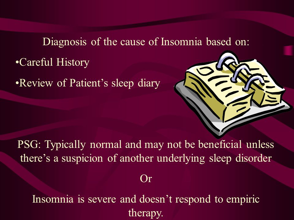 Insomnia History Nature and Duration of problem Sleep habits –Time in bed, lights out, sleep onset, wake time –Bedroom environment –Timing and duratio