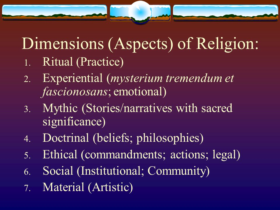 Dimensions (Aspects) of Religion: 1.Ritual (Practice) 2.