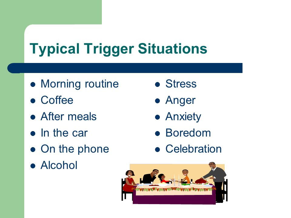Typical Trigger Situations Morning routine Coffee After meals In the car On the phone Alcohol Stress Anger Anxiety Boredom Celebration