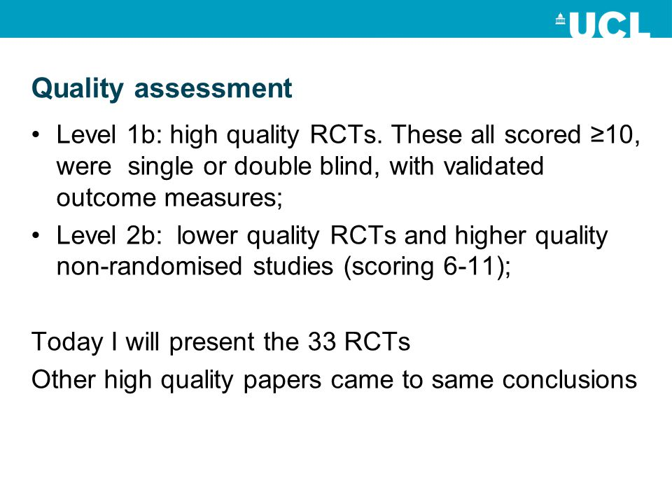 Quality assessment Level 1b: high quality RCTs.