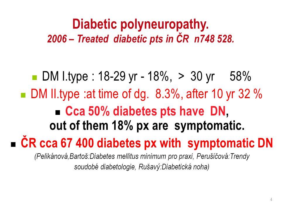 4 Diabetic polyneuropathy. 2006 – Treated diabetic pts in ČR n748 528. DM I.type : 18-29 yr - 18%, > 30 yr 58% DM II.type :at time of dg. 8.3%, after