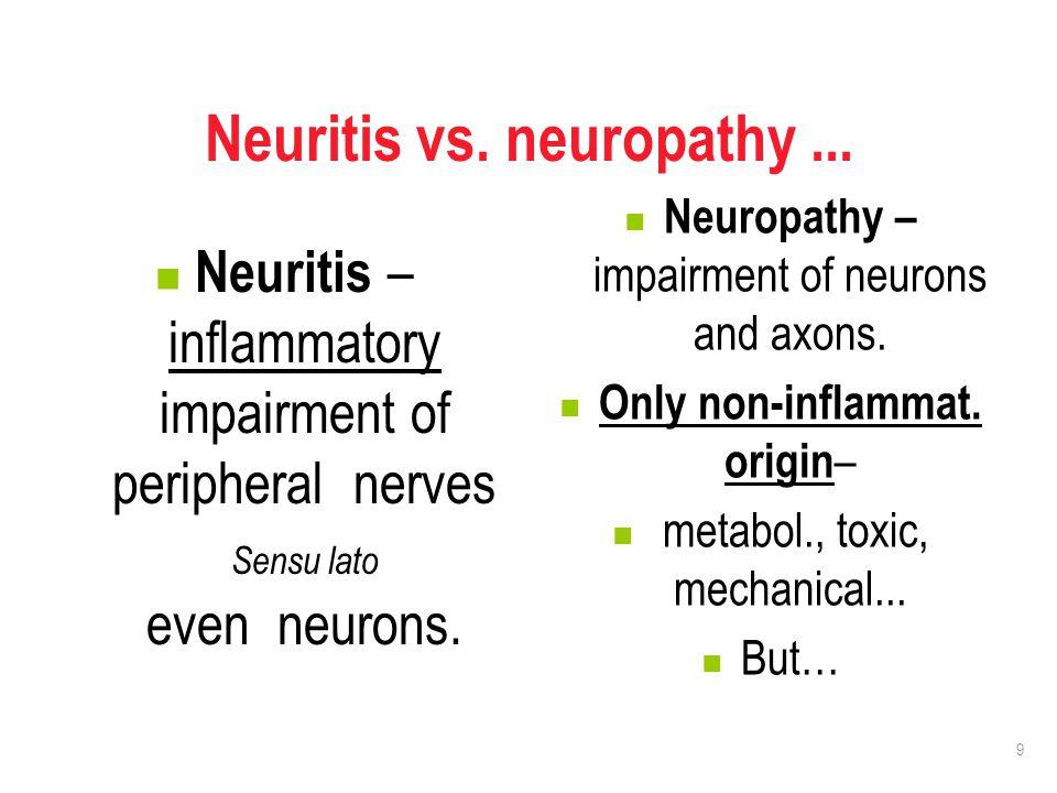 9 Neuritis vs. neuropathy... Neuritis – inflammatory impairment of peripheral nerves Sensu lato even neurons. Neuropathy – impairment of neurons and a