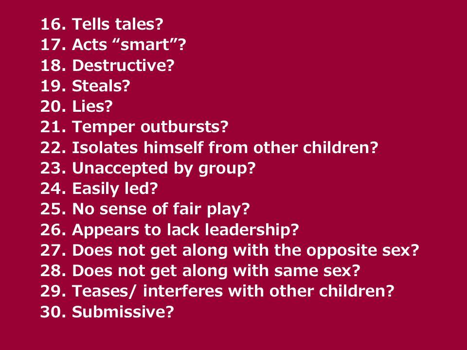 16. Tells tales. 17. Acts smart . 18. Destructive.